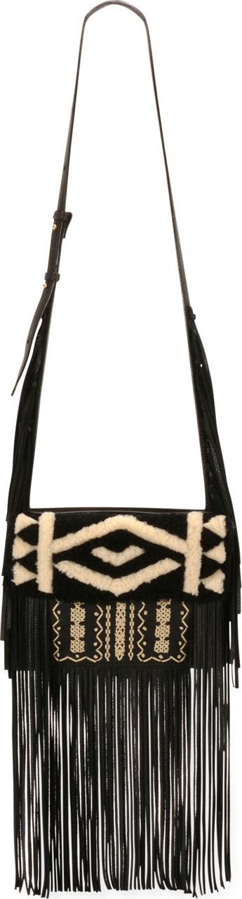 Etro Embroidered Deerskin Fringe Shoulder Bag