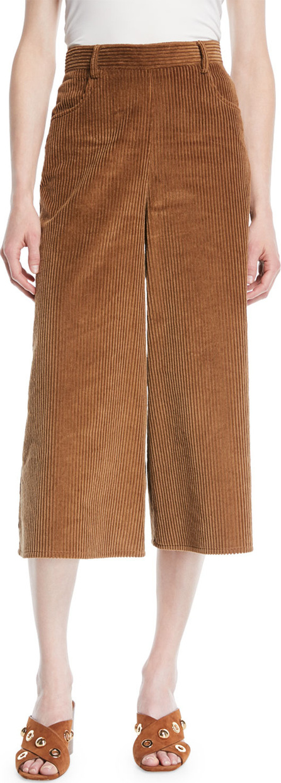 See By Chloé Wide-Leg Corduroy Cropped Pants