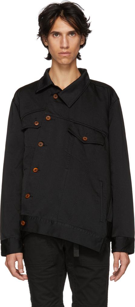 Comme Des Garçons Homme Plus Black Asymmetric Satin Shirt
