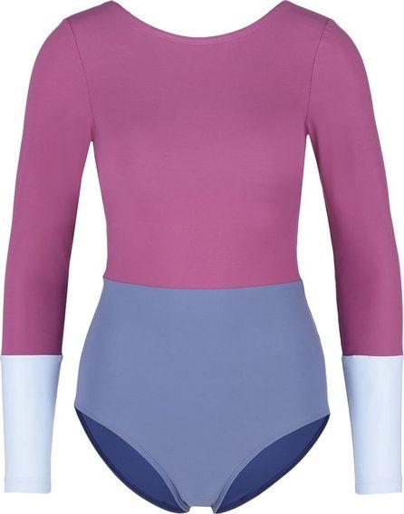 Flagpole Swim 'Lela' colourblock long sleeve one-piece swimsuit