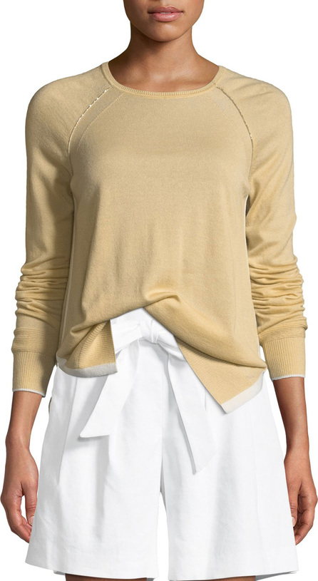 St. John Cashmere Knit Raglan-Sleeve Sweater