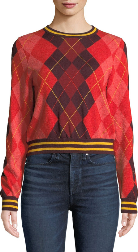 Rag & Bone Dex Cropped Argyle Crewneck Sweater