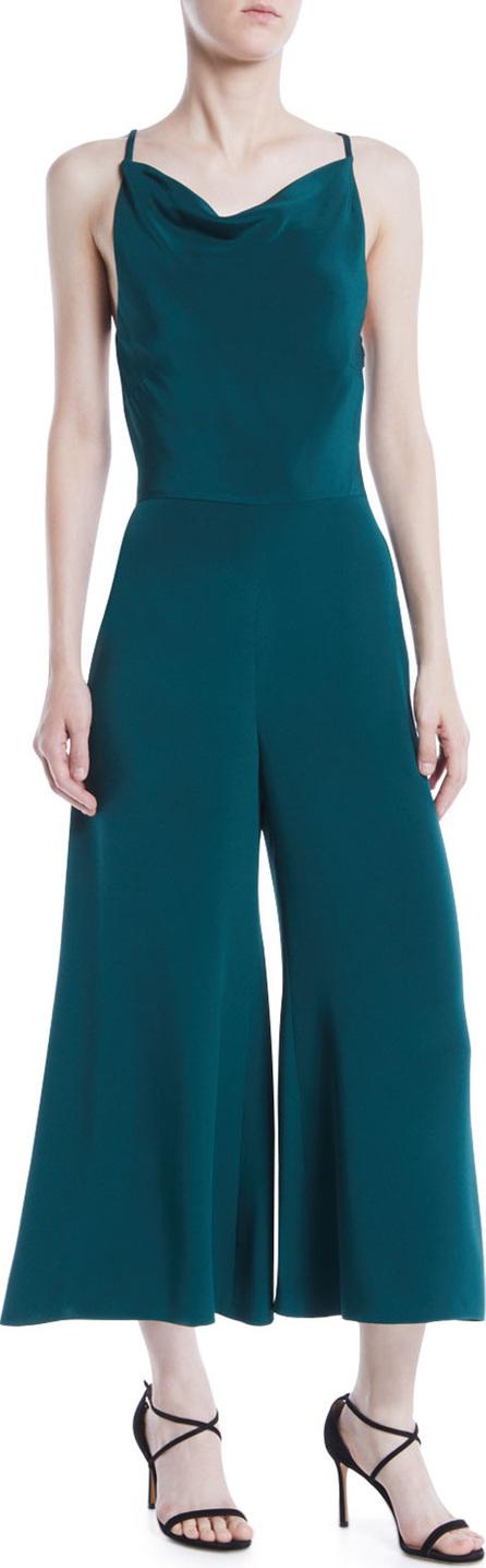 Cushnie Et Ochs Halter-Neck Sleeveless Drape-Back Wide-Leg Silk Jumpsuit