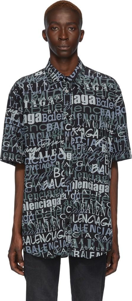 Balenciaga Black & Grey Silk Mixed Typo Shirt