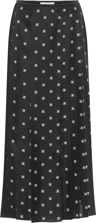 Fendi Logo silk and mesh midi skirt