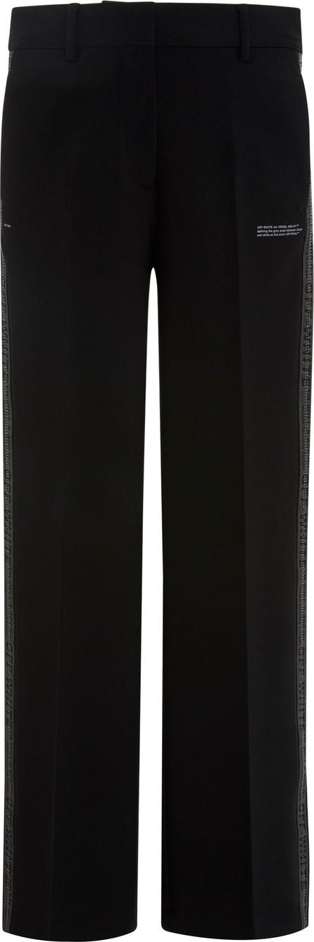 Off-White x Virgil Abloh Logo-Jacquard Printed Crepe Wide-Leg Pants
