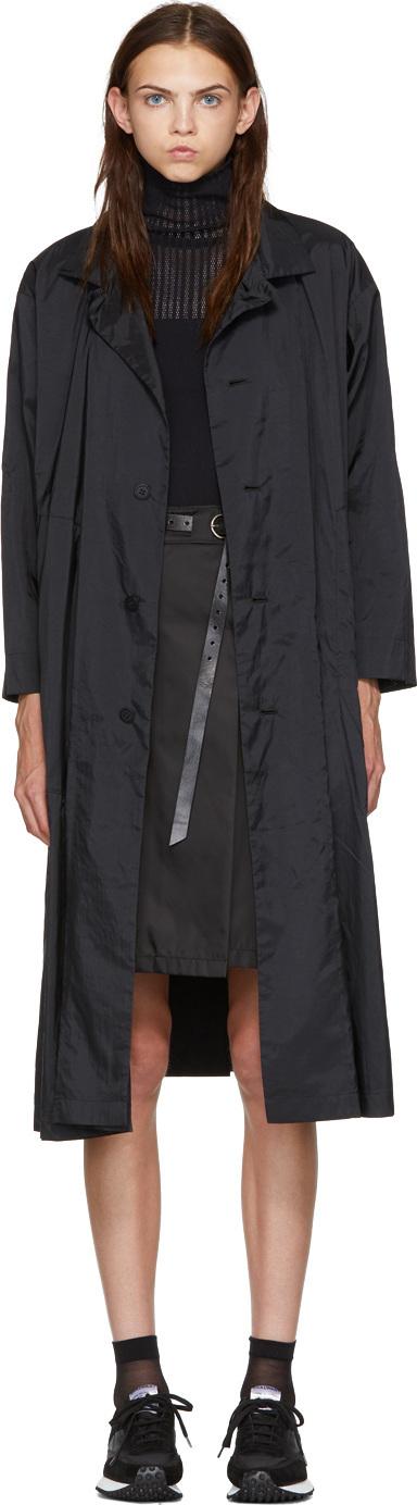 Issey Miyake Black Hooded Long Coat