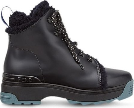 Fendi T-rex Shearling and Leather Ankle Boots