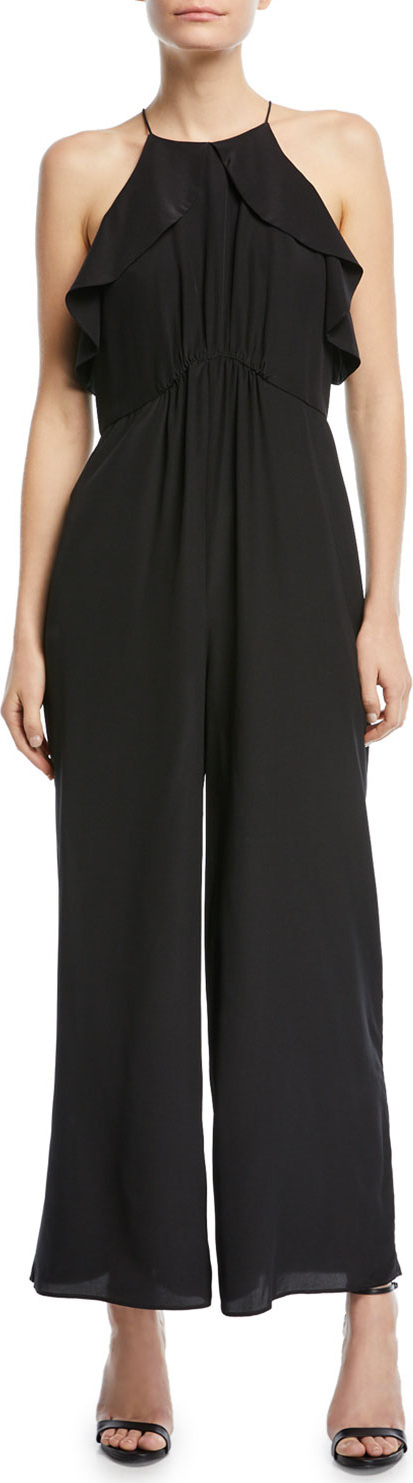 Zimmermann Sleeveless Ruffled-Frill Wide-Leg Silk Jumpsuit