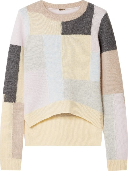Adam Lippes Color-block cashmere and silk-blend sweater