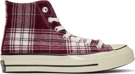 Converse Burgundy Plaid Chuck Taylor '70 High-Top Sneakers