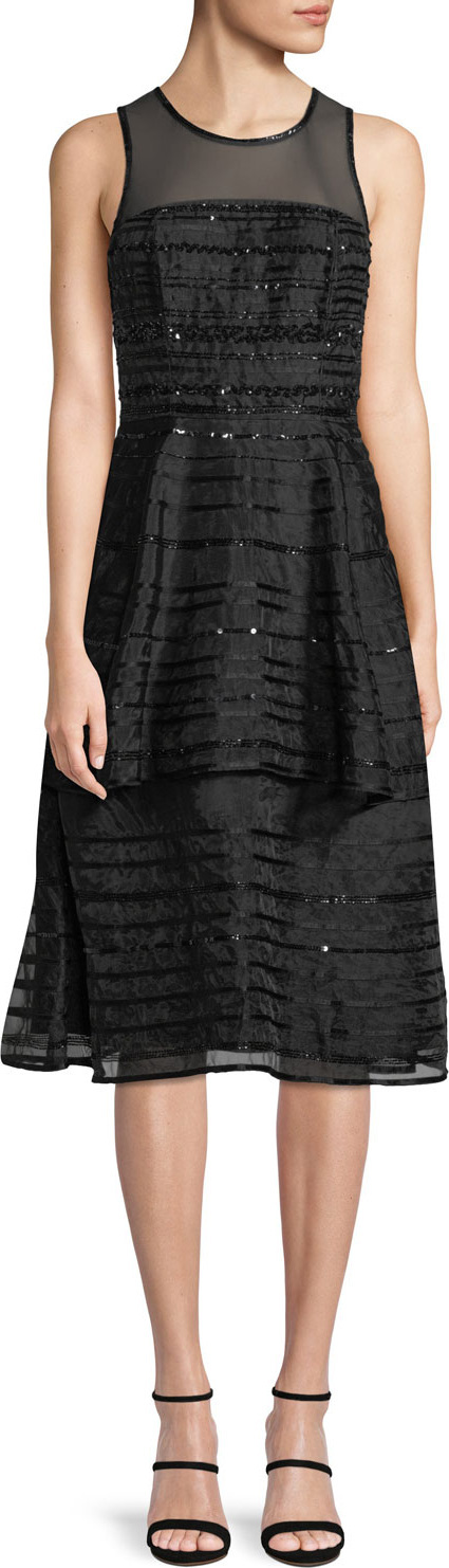 Parker Avril Sleeveless Sequin-Stripe Tiered Midi Cocktail Dress