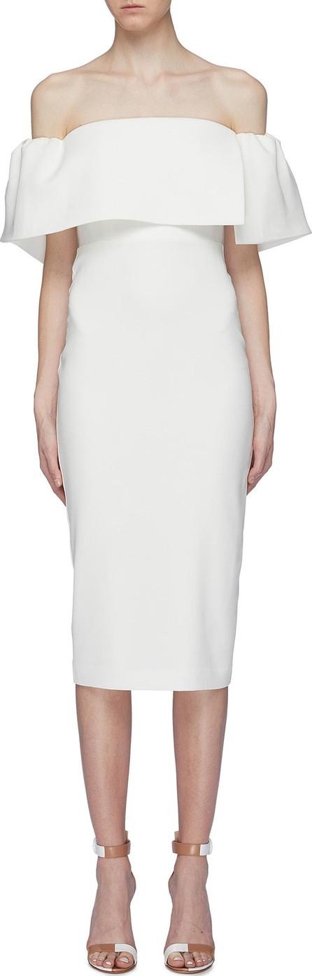 Alex Perry 'Margot' drape panel off-shoulder crepe midi dress