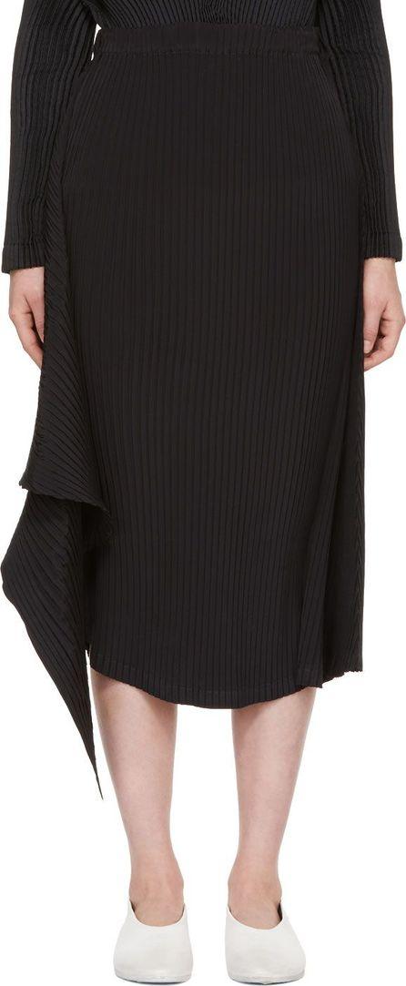 Issey Miyake Black Double Stream Pleats Solid Skirt
