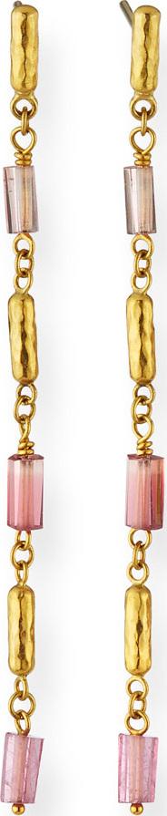 GURHAN 24k Gold Vertigo Hue Pink Tourmaline Earrings