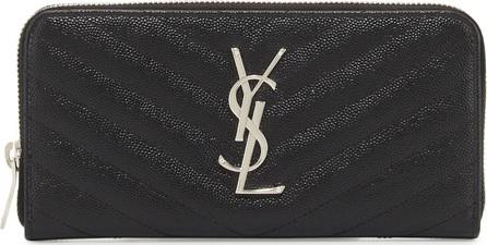 Saint Laurent Monogram YSL Matelasse Zip-Around Wallet, Black