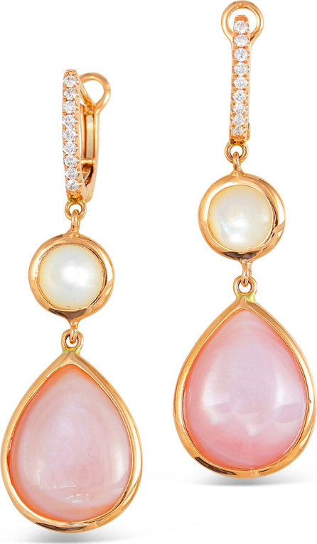 Frederic Sage Luna 18k Rose Gold White/Pink Mother-of-Pearl Earrings