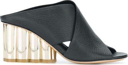 Salvatore Ferragamo Flower block heel X-band sandals