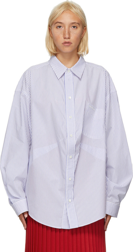 Balenciaga Blue & White Stripe Swing Shirt