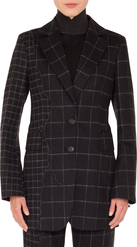 Akris Selia Two-Button Marble Tiles Patchwork Flannel Wool Long Jacket