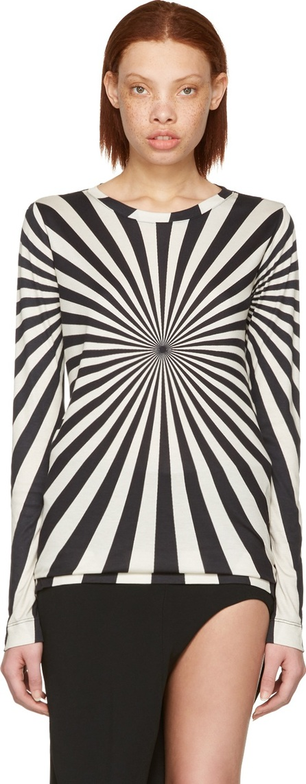 Gareth Pugh Black & Beige Printed Long Sleeve T-Shirt
