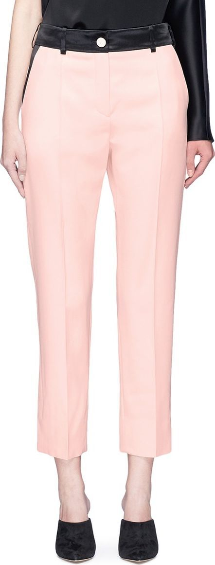 Lanvin Satin trim waistband cropped wool suiting pants