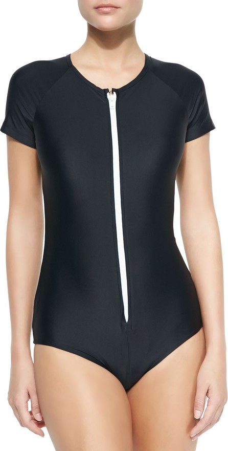 Cover Short-Sleeve Zip Swimsuit
