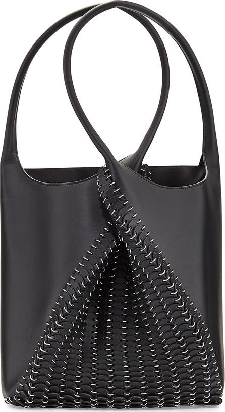 Paco Rabanne Pliage Medium Leather Tote Bag, Black