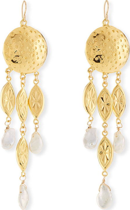 Devon Leigh Hammered Pearl Drop Earrings
