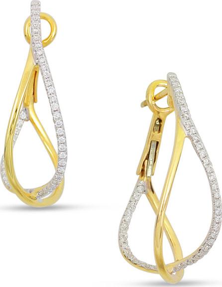 Frederic Sage 18k 2-Tone Diamond Crossover Hoop Earrings