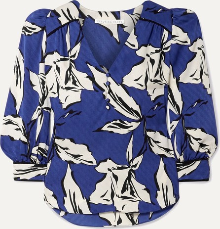 Veronica Beard Milan printed silk-satin jacquard blouse