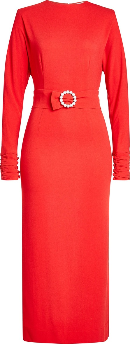 Alessandra Rich Midi Dress with Embellishment at Waist