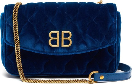 Balenciaga BB logo plate velvet chain wallet
