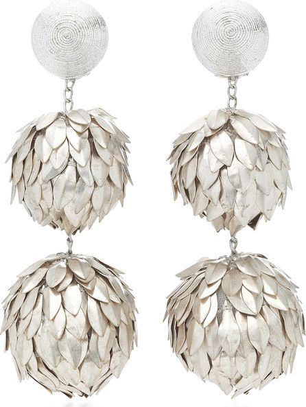 Rebecca de Ravenel Three Drop Metal Petal Earrings