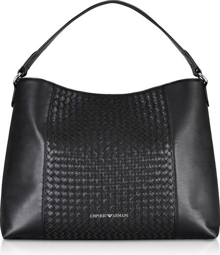 Emporio Armani Black Woven Eco-Leather Shoulder Bag
