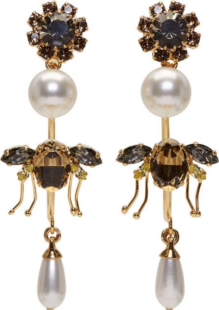 Erdem Gold Bee Hoop Drop Earrings
