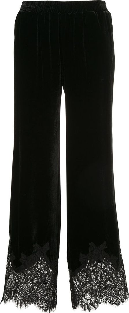 Gold Hawk lace hem velvet trousers