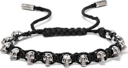 Alexander McQueen Silver-Tone Skull and Leather Bracelet