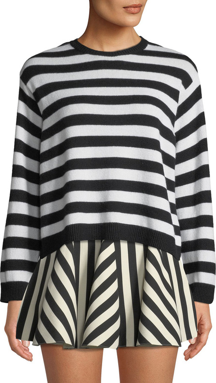Valentino Striped Long-Sleeve Cashmere Sweater w/ Bow-Neck