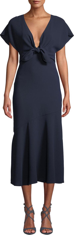 ML Monique Lhuillier V-Neck Crepe Dress w/ Tie Front