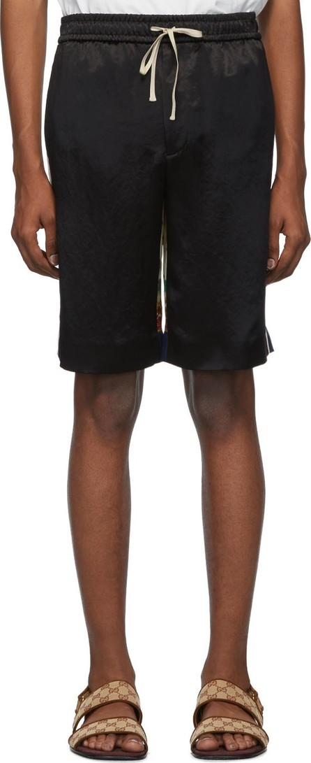 Gucci Black Bi-Material Print Shorts