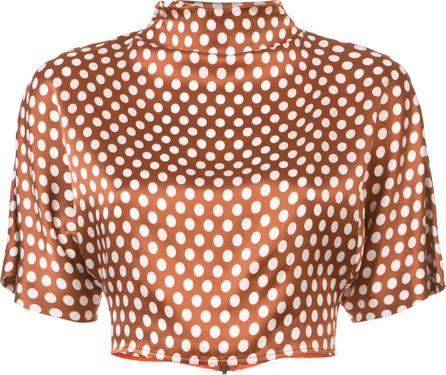 DIANE von FURSTENBERG Polka dot cropped blouse