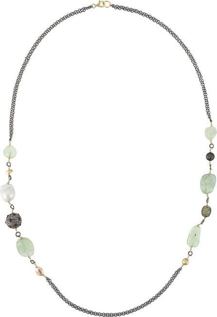 Gemco diamond, pearl and stone beaded long necklace