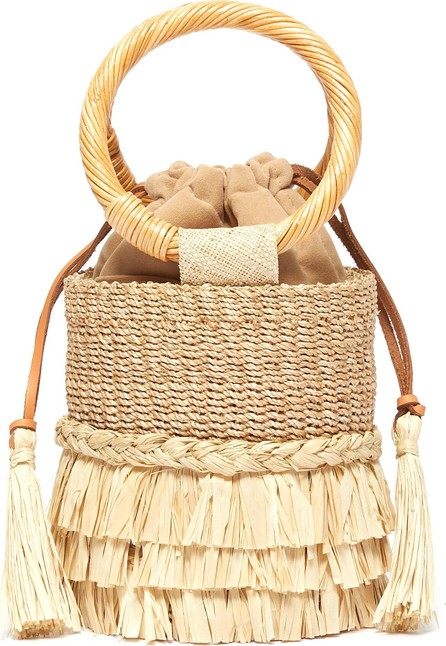 Aranaz 'Nona' raffia fringe straw bucket bag