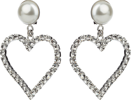 Alessandra Rich Crystal Heart Earrings