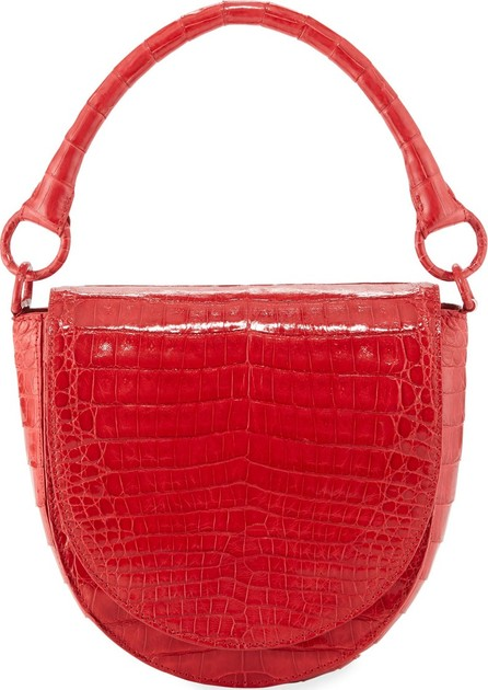 Nancy Gonzalez Teddi Croc Semicircle Crossbody Saddle Bag
