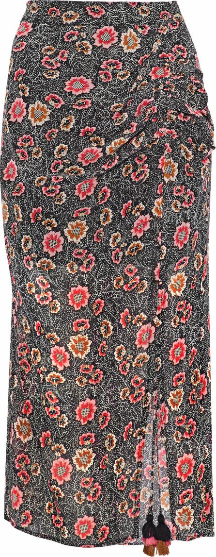 Rebecca Minkoff Romy ruched floral-print chiffon midi skirt