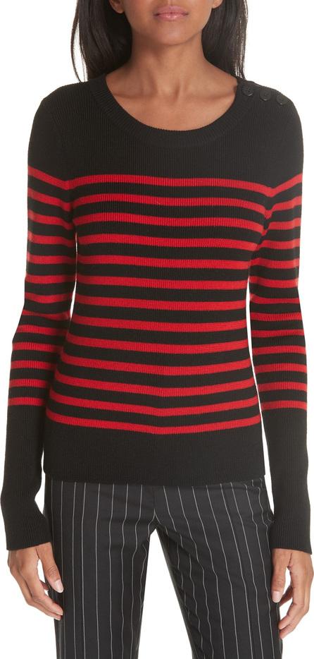 FRAME DENIM Button Shoulder Stripe Merino Wool Sweater