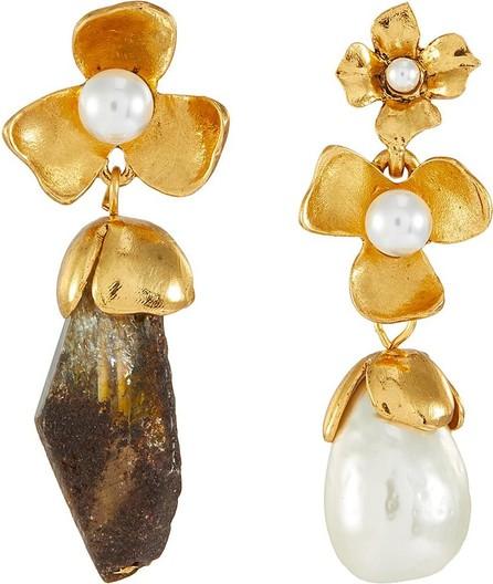Oscar De La Renta Swarovski crystal pearl floral earrings