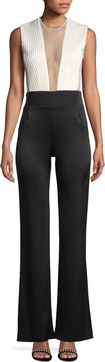 Galvan Sleeveless Deep-V Sheer-Tulle Bodice Bicolor Tuxedo Jumpsuit